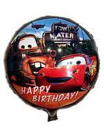 "ФОЛЬГОВАНІ КУЛІ КРУГЛІ ""ТАЧКИ"" Happy Birthday. ДІАМЕТР:18""(45 СМ)"