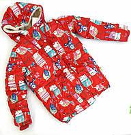Зимняя куртка с мультиклассным принтом в сочном красном цвете, р. 146/152