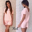 Гламурный летний женский костюм вырез на спине комплект блуза + шорты М-ка розовый пудренный пудра, фото 2