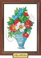 Схема для вышивки бисером «Нарциссы и маки в вазе»