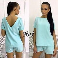 Гламурный летний женский костюм вырез на спине комплект блуза + шорты М-ка голубой