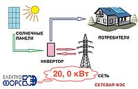 Комплект сетевой солнечной электростанции 20,0 кВт