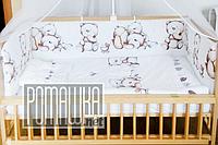 Защита (мягкие бортики, охранка, бампер) в детскую кроватку для новорожденного Сердечка 4148 Белый