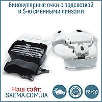 Бинокулярные лупы очки 9892B2 (1x-3.5x) c Led подсветкой, фото 1