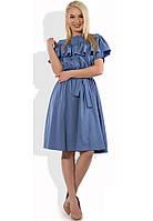 Темно-голубое платье с рюшей и воланами Д-1305