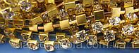 Стразовая цепь с кристаллами SS8 (2,5-3 мм) - Crystal/Золото