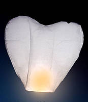 Небесный фонарик СЕРДЦЕ белого цвета