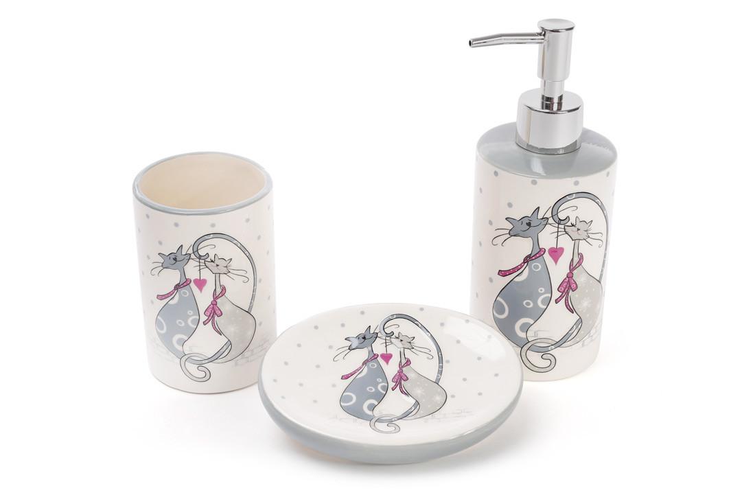 Набор для ванной керамический с объемным рисунком Влюбленные коты:диспенсер,мыльница,стакан, DM940-L