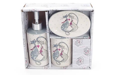 Набор для ванной керамический с объемным рисунком Влюбленные коты:диспенсер,мыльница,стакан, DM940-L, фото 2