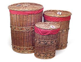 Набор корзин для белья (3шт) с тканевым мешком 574-127