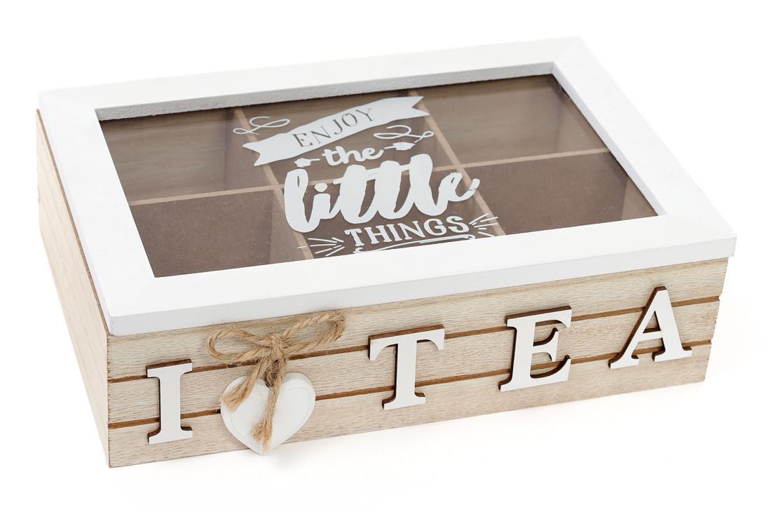 Коробка для чая деревянная (6 отделений) со стеклянной крышкой 443-540
