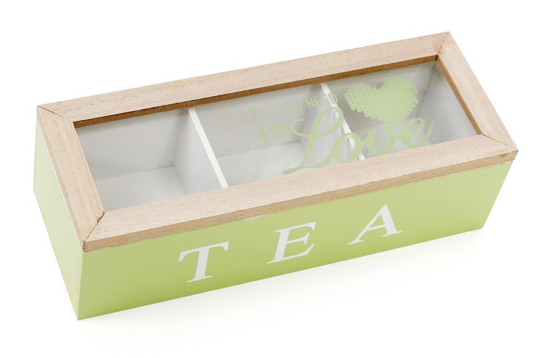 Коробка для чая деревянная со стеклянной крышкой, цвет - яблочный 443-555