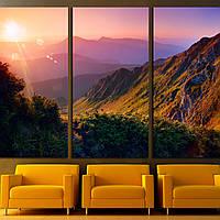 Картина -  Красивый летний пейзаж в горах с солнцем на рассвете