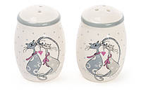 Набор для специй керамический с объемным рисунком Влюбленные коты: солонка и перечница DM762-L