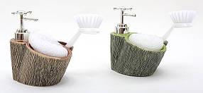 Дозатор для жидкого мыла с губкой и щеткой 15см, 2 вида 853-103