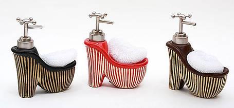 Дозатор для жидкого мыла с губкой Туфель 16см, 3 вида 853-102, фото 2