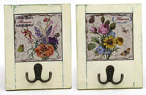 Вешалка с двойным крючком Цветы 18см, 2 вида 487-109