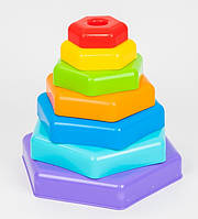 Пирамидка Развивающая Радужная Разноцветная Пирамида Детская Тигрес 39354, 007099