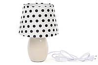 Лампа настольная 28см с керамическим основанием и тканевым абажуром, цвет - кремовый 242-141