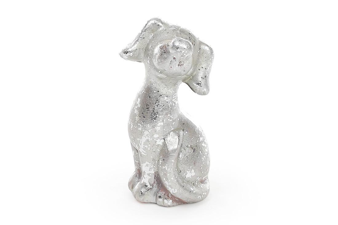 Декоративная статуэтка Собака 8см, цвет - серебро NY01-338