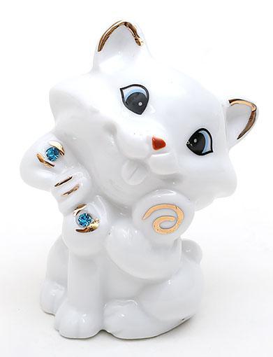 Декоративная статуэтка фарфоровая Кошка со стразами 7.2см 570-C14