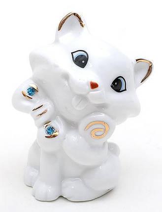 Декоративная статуэтка фарфоровая Кошка со стразами 7.2см 570-C14, фото 2