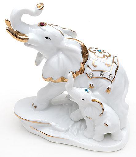 Декоративная статуэтка фарфоровая Слоники со стразами 12.8см 570-E12