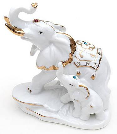 Декоративная статуэтка фарфоровая Слоники со стразами 12.8см 570-E12, фото 2