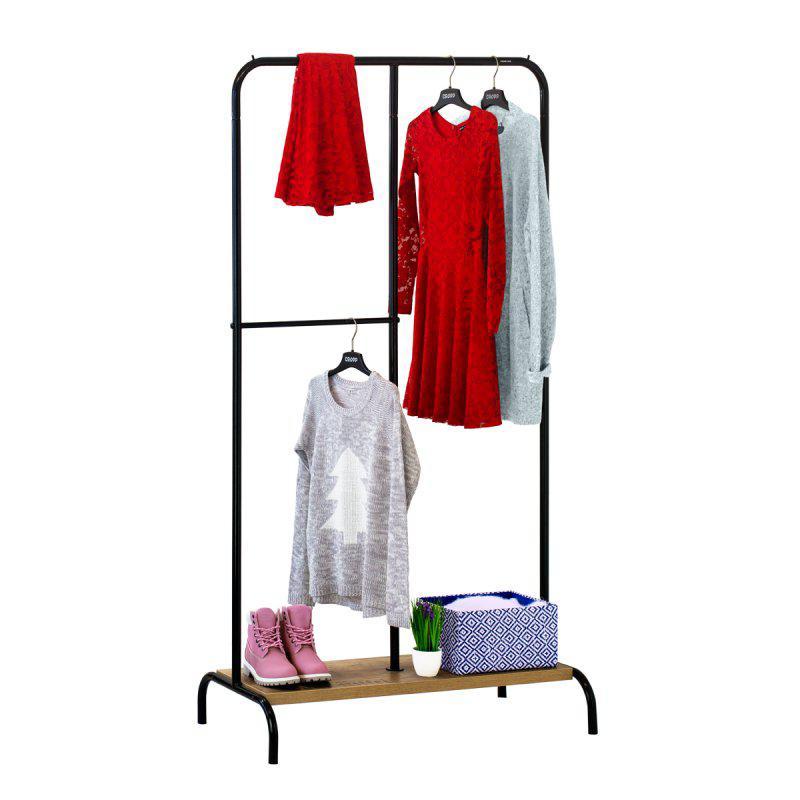Стойка для одежды Лофт 3 черная (металл/дерево)