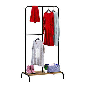 Стойка для одежды Лофт 3 черная (металл/дерево), фото 2