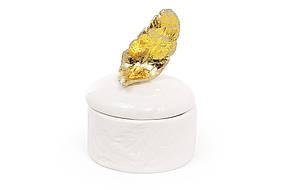 Шкатулка фарфоровая Золотое перо 8.5см 495-432