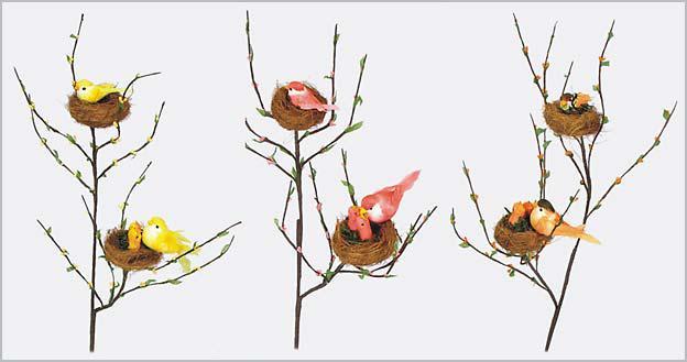 Декоративная ветка с птицами, 49см 130-024