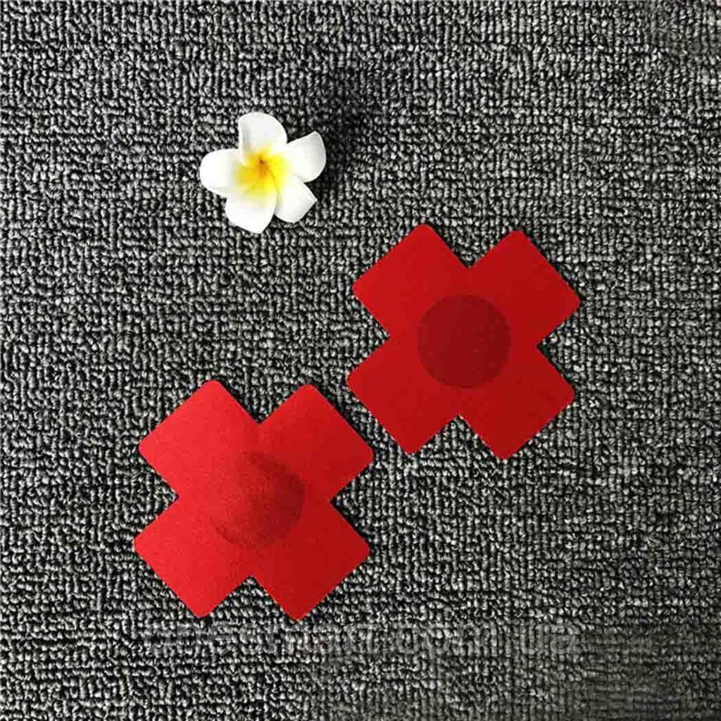 Наклейки на грудь красного цвета в виде креста (стикини)