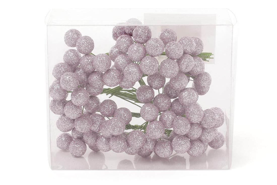 Набор декоративных ягод 12 мм, 96шт, цвет - розовый глитер 147-223