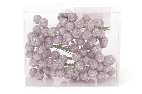 Набор декоративных ягод 12 мм, 96шт, цвет - розовый глитер 147-223, фото 2