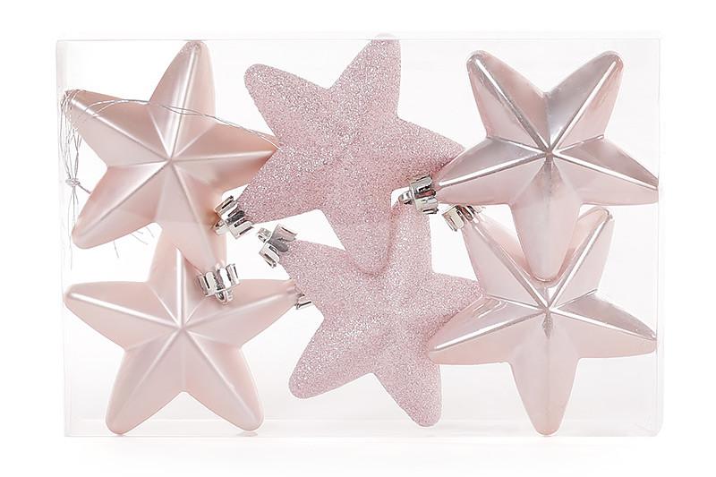 Набор елочных украшений Звезды 7.5см, цвет - розовый, 6 шт;перламутр, мат, глитер - по 2шт., пластик (147-210)