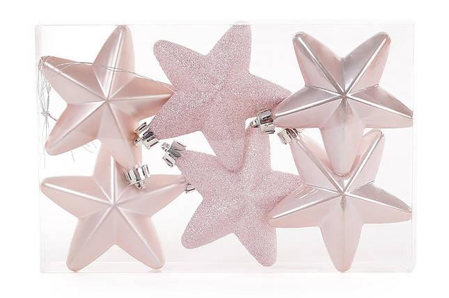 Набор елочных украшений Звезды 7.5см, цвет - розовый, 6 шт;перламутр, мат, глитер - по 2шт., пластик (147-210), фото 2
