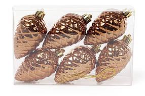 Набор шишек, 6см, цвет - коричневая замша, глянец, 6шт 147-025