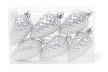 Набор шишек, 6см, цвет серебро перламутр, 6шт 147-174, фото 2