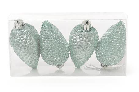 Набор шишек, 8см, цвет - эвкалипт, матовый с глитером, 4шт 147-948, фото 2