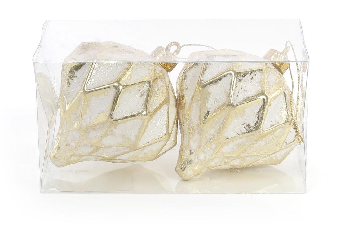 Набор (2шт) елочных украшений 8см с рельефом, цвет - белый с золотом 182-842