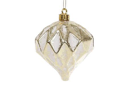 Набор (2шт) елочных украшений 8см с рельефом, цвет - белый с золотом 182-842, фото 2