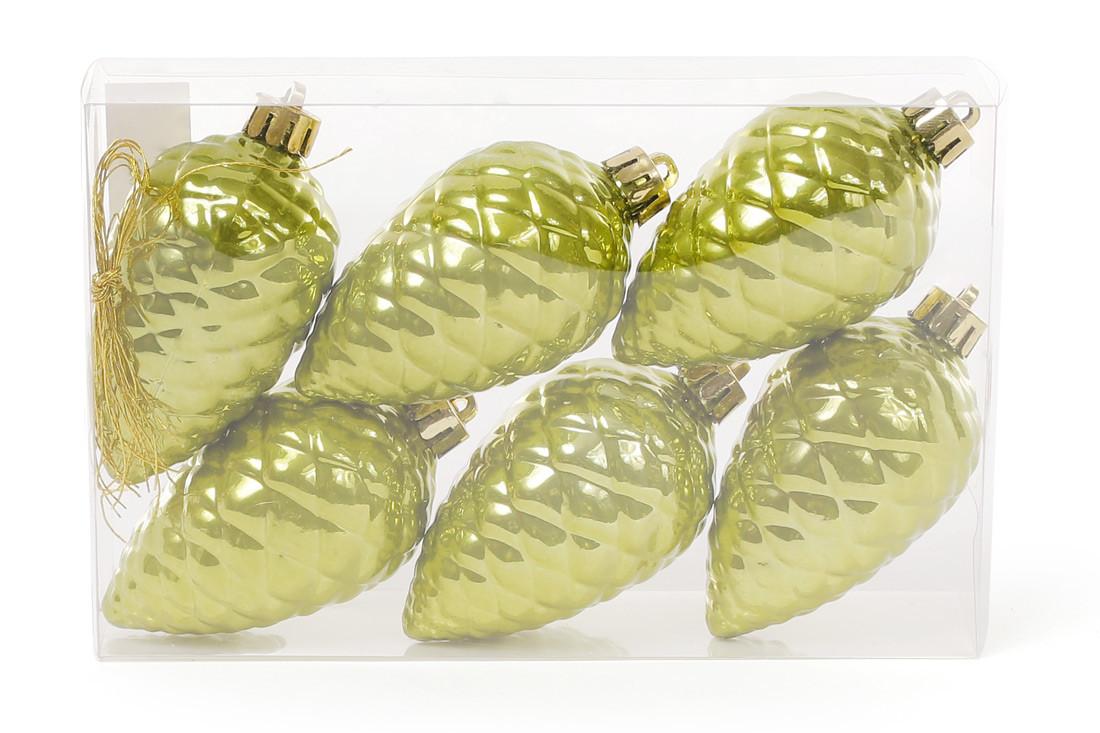 Набор шишек, 6см, цвет - оливковый зеленый, перламутр, 6шт 147-974