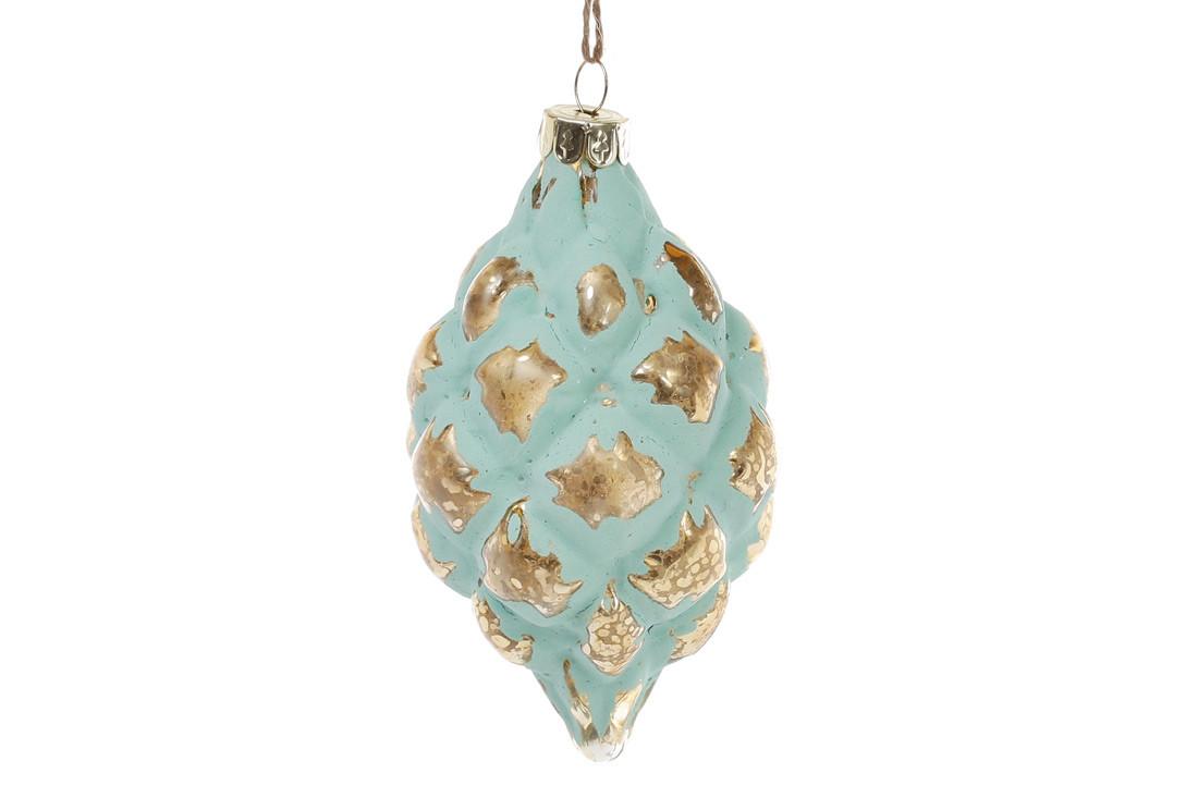 Елочное украшение в форме оливы 13см, цвет - мята с золотом 172-254