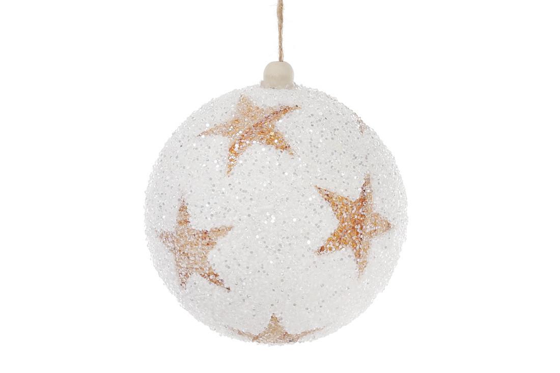 Елочный шар 10см, белый с медными звездами, покрытие - лед 182-848