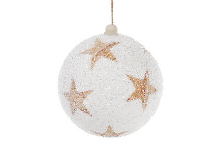 Елочный шар 10см, белый с медными звездами, покрытие - лед 182-848, фото 2