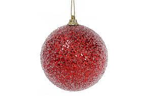 Елочный шар 8см, красный с покрытием лёд 182-870
