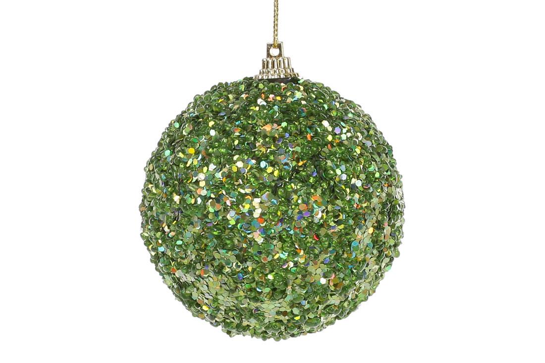 Елочный шар 8см, зеленый с покрытием лёд 182-855