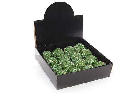 Елочный шар 8см, зеленый с покрытием лёд 182-855, фото 2