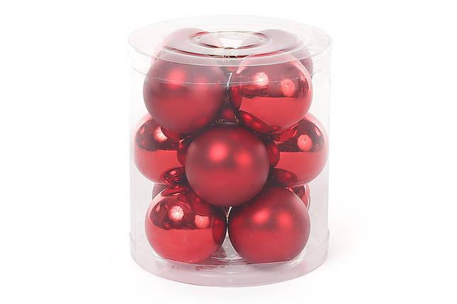 Набор елочных шаров 4см, цвет - красный, 12шт: глянец и мат - по 6 шт, пластик  (147-471), фото 2